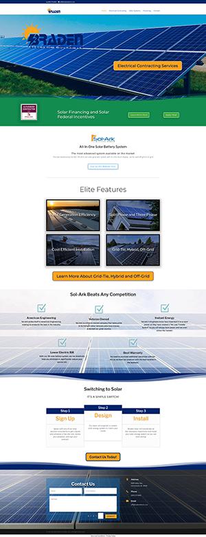 Homepage Screenshot of Braden Electric & Solar LLC Website